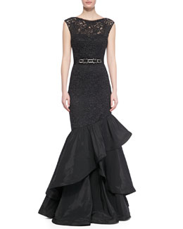 Rickie Freeman for Teri Jon Lace Gown with Tiered Flamenco Skirt, Black