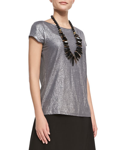 Eileen Fisher Shimmer Cap-Sleeve Top