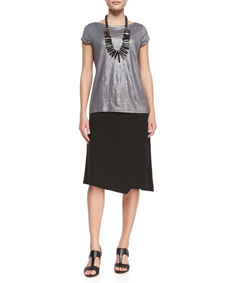 Faux-Wrap Jersey Skirt