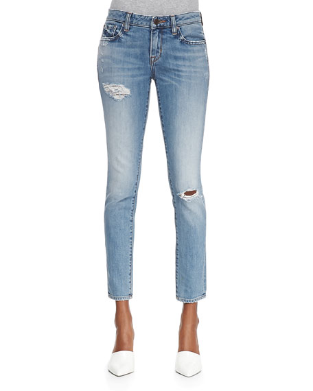 Florence Distressed Cropped Skinny Jeans, Blondie