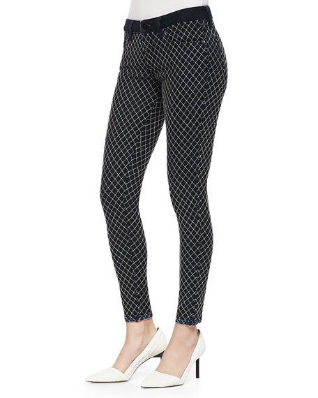 Florence Diamond-Check Skinny Jeans, Whitened Reverse