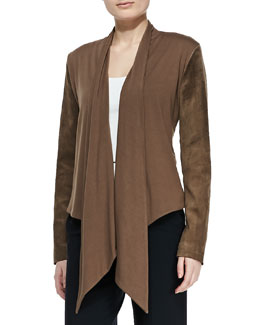Bagatelle Waterfall Drape-Front Suede Jacket