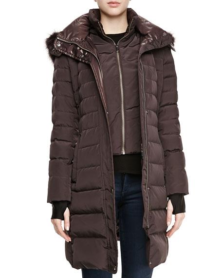 Ashley Puffer Jacket with Fur-Trim Hood, Garnet