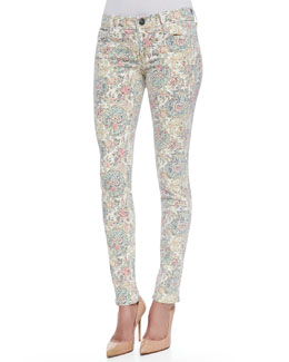 True Religion Chrissy Super Skinny Paisley Jeans, White/Multicolor