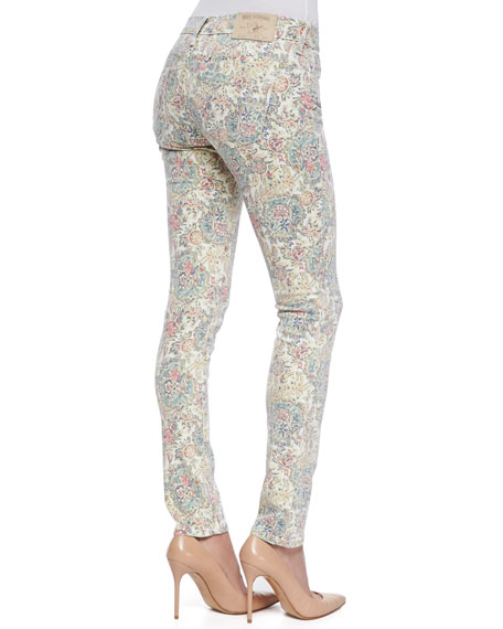 Chrissy MId-Rise Ankle Skinny Jeans, Paisley