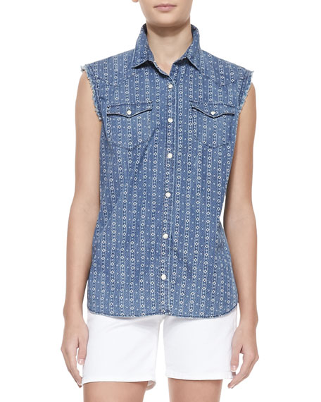 Sleeveless New Georgia Print Shirt, Geo Blue