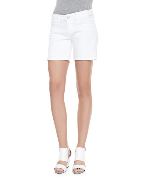 Cassie Denim Roll-Up Shorts, Optic White