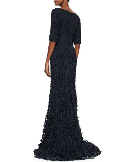 Half-Sleeve V-Neck Petal Gown