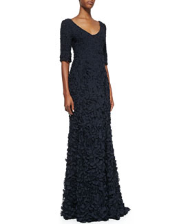 Theia Half-Sleeve V-Neck Petal Gown