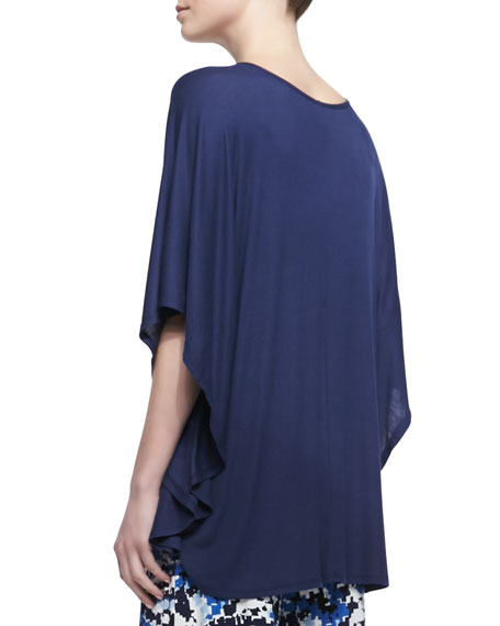 Ribbed Jersey Poncho, Deep