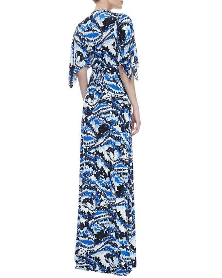 Digital-Print Long Caftan Dress