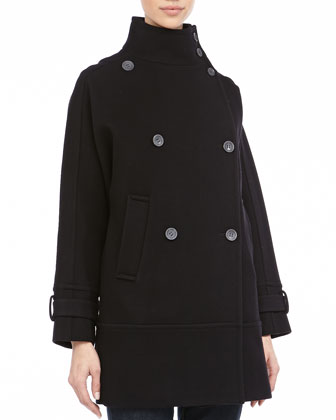 Tori Double-Breasted Peacoat, Black