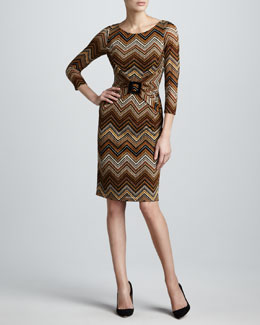 David Meister Zigzag-Stripe Dress