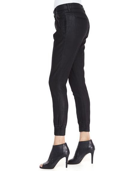 Drapey Smocked-Cuff Cropped Pants