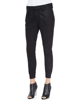 7 For All Mankind Drapey Smocked-Cuff Cropped Pants