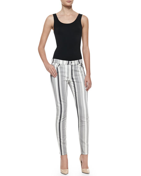 Striped Skinny Ankle Denim Pants