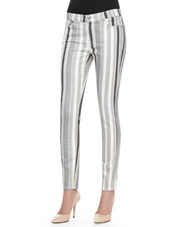 7 For All Mankind Striped Skinny Ankle Denim Pants