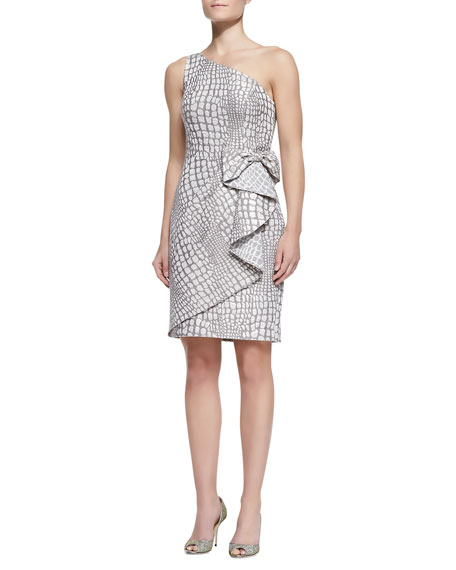 One-Shoulder Waist-Bow Cocktail Dress, Mocha