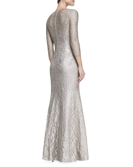 3/4-Sleeve Scoop Neck Lace Gown, Mocha