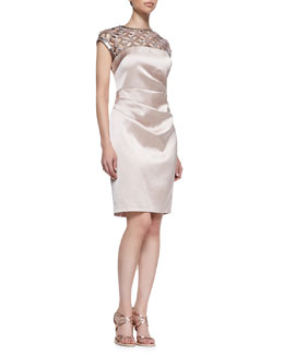 Kay Unger New York Cap Sleeve Beaded Basketweave Cocktail Dress, Petal