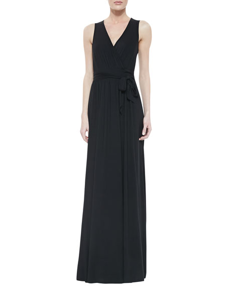 Missy Crawford Self-Tie Maxi Dress, Black