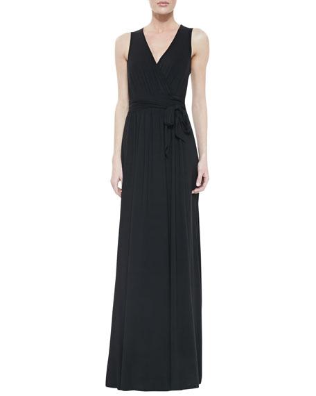 Missy Crawford Self-Tie Maxi Dress, Black