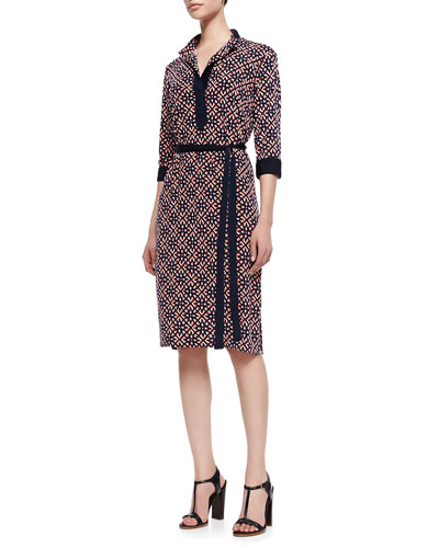 Melissa Masse Print Lux-Jersey Knee-Length Shirtdress, Women's