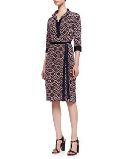 Melissa Masse Print Lux-Jersey Knee-Length Shirtdress