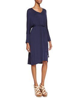 Melissa Masse Long-Sleeve Jersey Dress, Navy