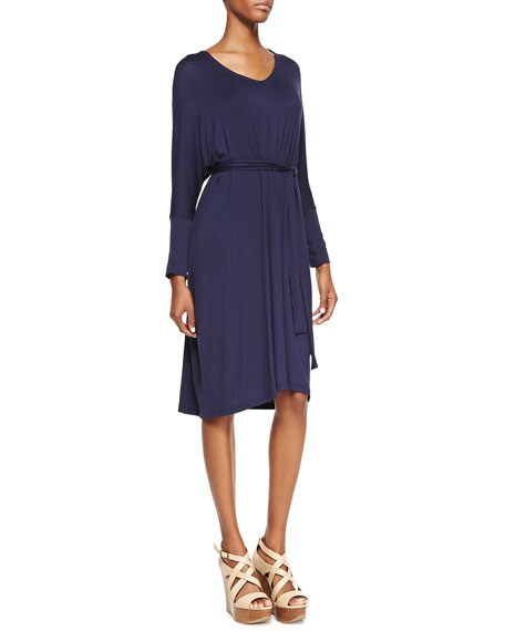 Long-Sleeve Jersey Dress, Navy