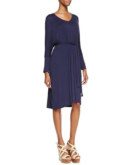 Long-Sleeve Jersey Dress, Navy