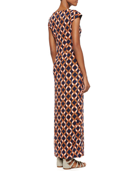 Link-Print Bateau-Neck Long Dress