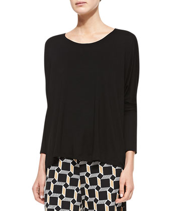 Jersey Dolman-Sleeve Top, Black