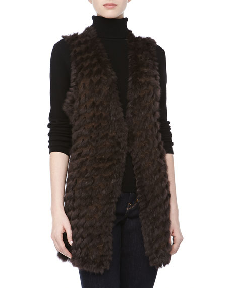 Rabbit & Wool-Blend Vest, Brown