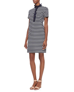 Tory Burch Lidia Striped Polo Shirtdress