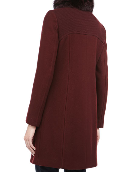 Posh Luxe Honeycomb Textured Coat, Oxblood