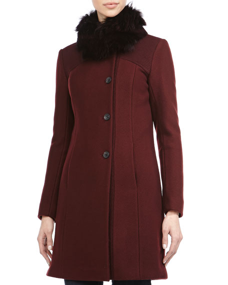 Andrew Marc Posh Luxe Honeycomb Textured Coat, Oxblood