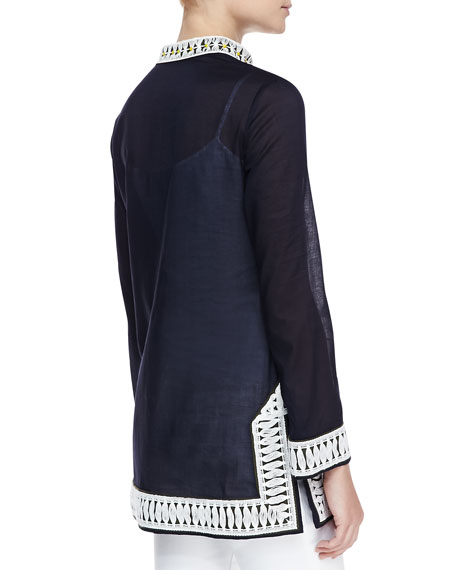 Tory Embroidered-Trim Tunic