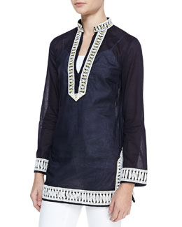 Tory Burch Tory Embroidered-Trim Tunic