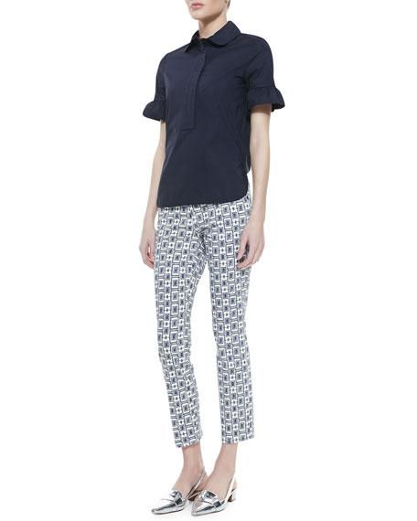 Alexa Printed Cropped Skinny Jeans, White/Newport Navy