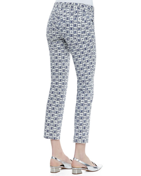 Alexa Printed Cropped Skinny Jeans, White/Newport Navy