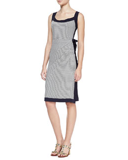 Tory Burch Kyla Striped Solid-Trim Dress