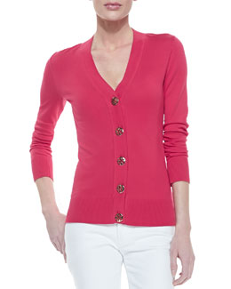 Tory Burch Simone Button-Down Cardigan, Carnival Pink