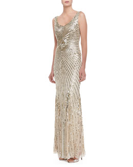 Aidan Mattox Sleeveless Deco Bead & Sequin Gown, Champagne