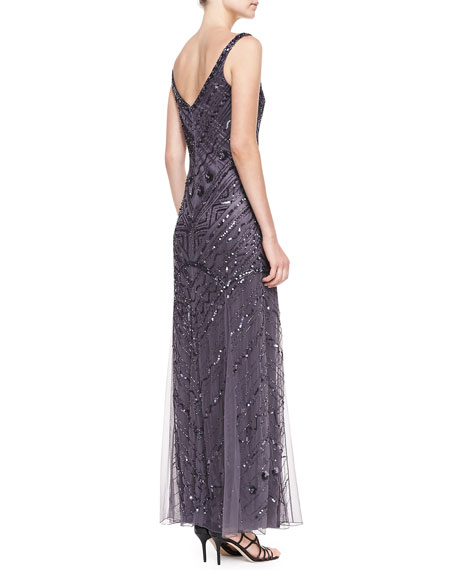 Sleeveless Deco Beaded Gown, Gunmetal