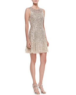 Aidan Mattox Sequined Beaded Deco Cocktail Dress