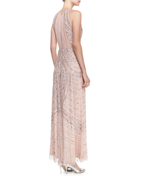 Sequined & Beaded Halter Neck Gown, Blush