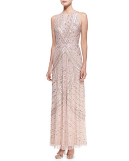 Aidan Mattox Sequined & Beaded Halter Neck Gown, Blush