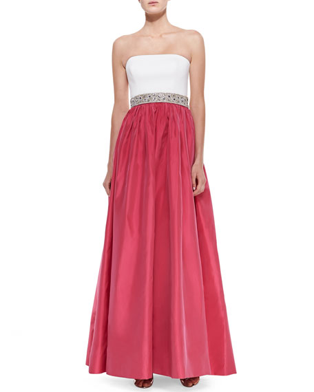 Strapless Combo Beaded-Waist Gown, Ivory/Raspberry
