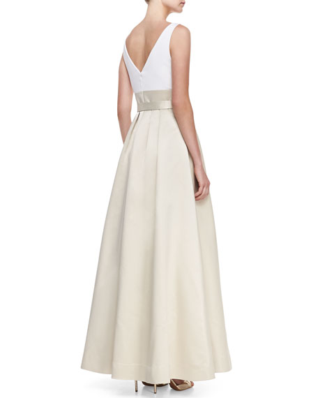 Sleeveless Tie Waist Combo Gown, Ivory/Champagne